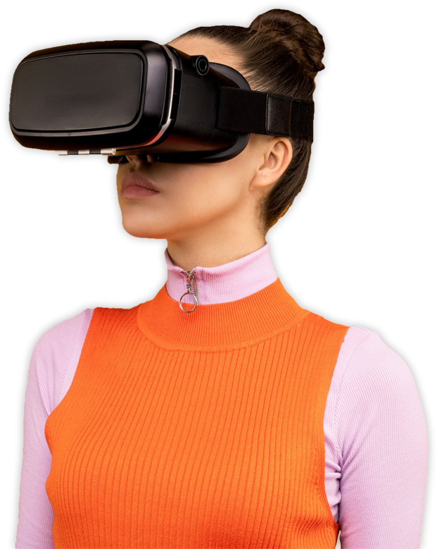 Woman wearing HMDs for VR