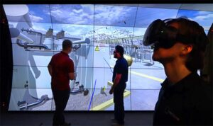 large virtual reality wall connected to head mounted virtual reality device